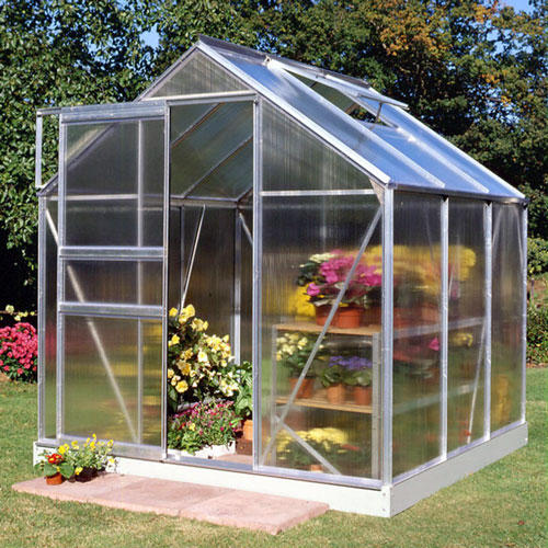 Greenhouse with twin wall polycarbonate covering.