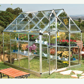 Greenhouse with single wall polycarbonate covering.